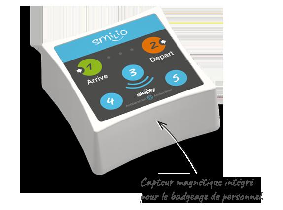 Skiply badgeuse pointeuse connectée Smilio A avec capteur magnétique intégré