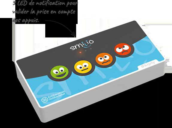 Skiply borne de sondage Smilio S 4 smileys avec leds de validation des appuis