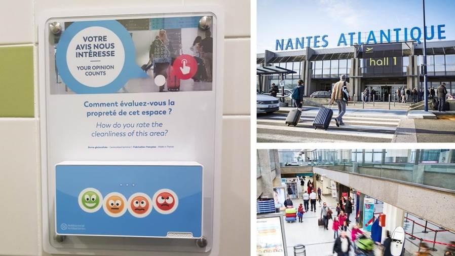 Skiply actualités Vinci Airports Nantes Atlantique Borne Smilio S 4 smileys sanitaires