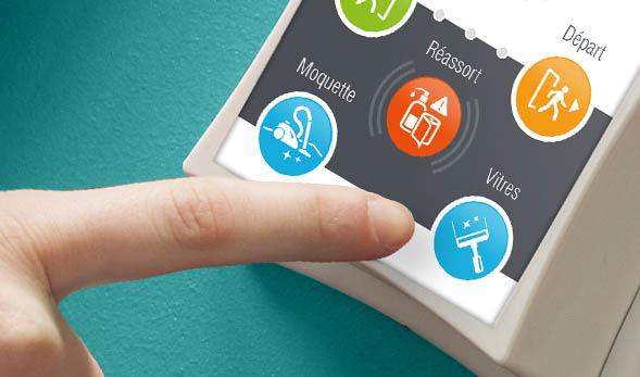 boutons pour le pointage et le service à la demande