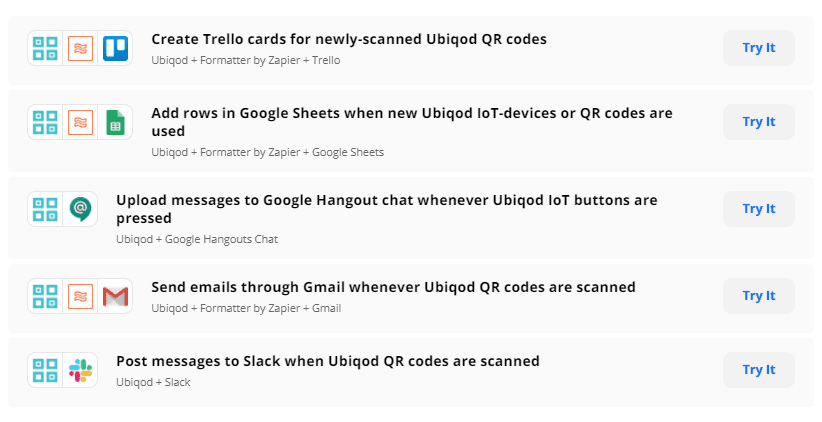 Zapier templates for IoT with Ubiqod