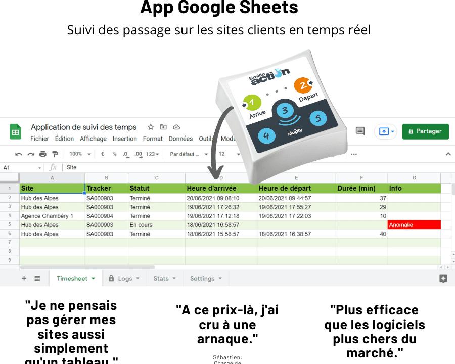 pointage et suivi des temps avec Google Sheets